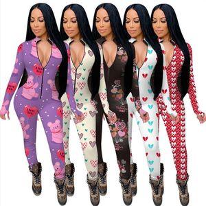 Frauen Jumpsuits Strampler Lange Ärmel V-Ausschnitt Designer Nachtwäsche Playsuit Bodysuit Valentinstag Skinny Pyjama onesies Plus Size E122311