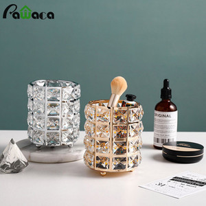 Makeup Brushes Holder Pot Organiser Golden Crystal Bling Cosmetic Brush Pen Pencil Holder Candle Holder Storage Box Container Y1116