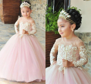 2021 Cute Blush Wedding Guest Dresses For Little Gilrs Pink Tulle Ivory Lace Illusion Applique Long Sleeves Princess Flower Girl Dresses