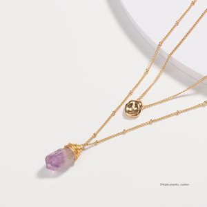 18k Golden Hanging Brand Clavicle Chain Light Purple Natural Stone Pendant Multi-layer Necklace Woman