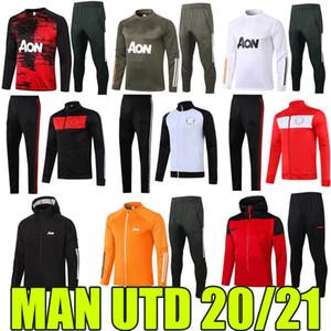 2020 2021 맨체스터 Tracksuits van de beek rashford 풋볼 재킷 전체 지퍼 스포츠웨어 남자 UTD 후드 B.fernandes Pogba Traning Suits