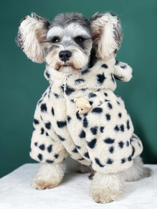 Free Shipping Winter Dog Clothes Pet Coat Jacket Parkas Spots Fluffy Soft Warm Hoodie Outfit Poodle Yorkie Maltese