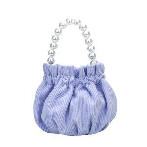 HBP Women Pearl Secchio Borsa portatile Maniglia portatile Girls Corduroy Spalla Messenger Borsa Popolare Semplice Semplice Femminile Daily Bag Purple