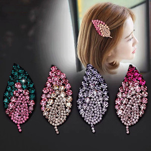 2021 Fashion Crystal Paved Leaf Hairclip Popular In European and American Rhinestone Hairdressing Bridal Jewelry Wedding Accessory