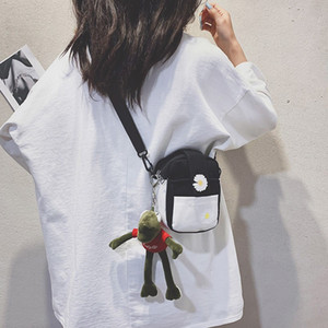 korean fashion style literary fan flowers small fresh wild daisy canvas messenger shoulder small square bag