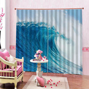 Custom 3d curtain Beach wave Curtains for living room Bedroom Curtain High Quality Home Decoration Factory diret sale