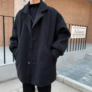 Moda uomo caldo addensare inverno trincea trincea in lana cappotto di lana casual sottile giacca a vento giacca lunga outwear plus size m-2XL