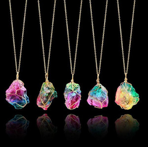 freeze crystal gemstone jewelry semi precious natural gemstone quartz yellow pink green stone jewelry necklace wholesale