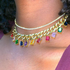 Rock style miami cuban chain choker jewelry with rainbow baguette cz drop charm links Gold filled cz women short layer necklace