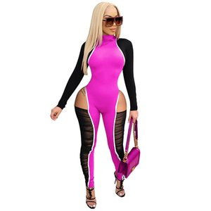 Sexy Mesh Splicing Matching Playsuit Womens Long Sleeve Front Zipper Sexy Long Jumpsuit Skinny Rompers Overalls