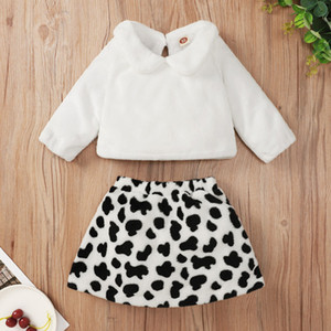 Baby Girls Tops+Leopard Skirts Outfits Fall 2020 Kids Clothes for Boutique 0-2T Infant Toddler Girls Fashion 2 PC Set Stylish Baby Clothes