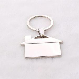 12 adet başına lot özelleştirmek gümüş kaplama ev şekli metal Keyfinder DIY promosyon anahtarlık hediye takı aksesuarları