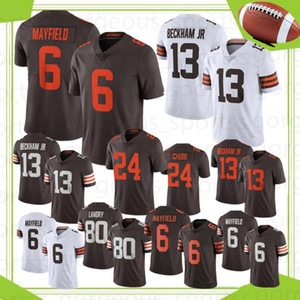 NCAA 6 Baker Mayfield Hommes Football Jerseys 13 Odell Beckham JR Hot Jerseys 95 myles Garrett 24 Chubb 80 Landry Vente chaude Jerseys
