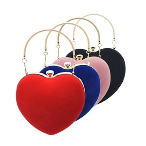 Women's New Style Handbag Velvet Pericardial Heart Shape Banquet Evening Bag