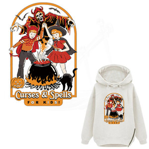 New Thermal stickers Retro Europe curses and spells for kids patches Diy T-shirt sweater Dresses jeans clothing applications