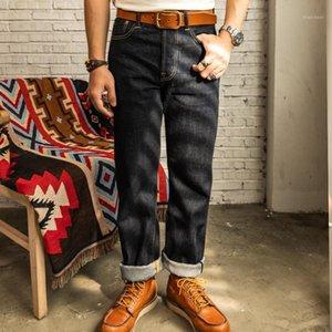Red 47501 Hombres Jeans 14oz Selvedge Denim Regular Staright Leg Pantalones Blue1