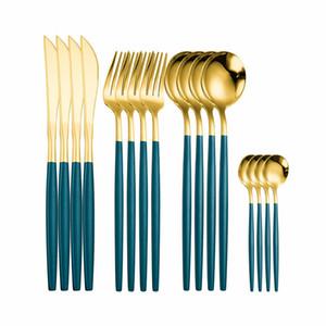 Dîner iyafey Dîner Couverts en acier inoxydable Couverture de cuillère Ensemble de couverts dorés Ensemble de cuillères et fourchettes 16 pièces Vaisselle en or vert Z1123