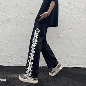 Drucken mit breitem Beinen lose zusammen samt männliche hosen charakter männer frauen baumwolle cn (origin) in voller Länge Kleidung