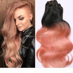 Brazilian Dark Root Ombre Hair Extensions 3 bundles #1B Rose Gold Ombre Human Hair Two Tone Body Wave Hair Weft