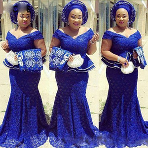 Royal Blue Lace Nigerian Evening dresses for Women Off The Shoulder South Africa Formal Long Mermaid Plus Size Prom Gowns