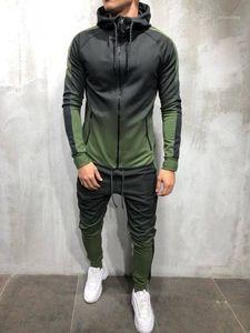 Erkek Eşofman Zogaa erkek Spor Iki Parçalı Set Erkek Rahat Kapüşonlu Spor Giyim Eşofman Eğitim Ter Suit Erkekler Track M-3XL1