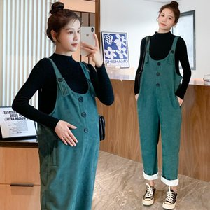 6949# Autumn Winter Corduroy Maternity Bib Pants with Shirt Jumpsuits Clothes for Pregnant Women Loose Pregnancy Overalls Suits