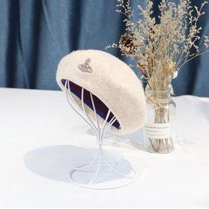 Wool beret lady autumn winter new pearl mesh decorative wool hat fashionable elegant hat