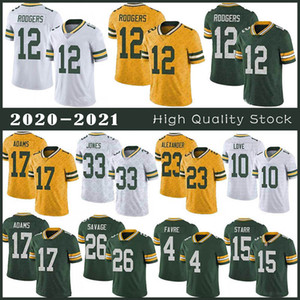 12 Aaron Rodgers Football Jersey 17 Davante Adams 33 Aaron Jones 23 Jaire Alexander 15 Bart Starr 26 Darnell Savage Jr 4 Brett Favre 10 Love