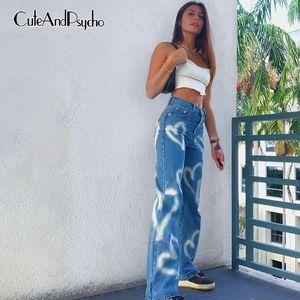 Cuore vintage stampato Y2K BAGGY DONNE DONNA A Vita alta Harajuku Aesthetic Mom Jeans Denim Streetwear 90s Pantaloni CuteAnDpsycho