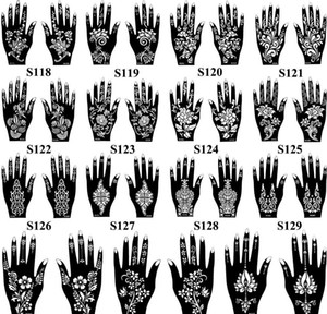 Wholesale-hot 1 Pair Henna Tattoo Stencil Beautiful Flower Pattern Design For Women Body Hands Mehndi Airbrush Art bbycKb hotclipper