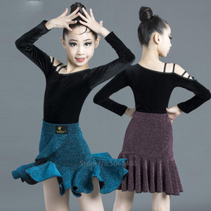 5Colors Kids Latin Skirt Baby Girls Competition Dress Ballroom Dance Wear Clothing Cha Cha Fancy Shinny Knitting Skirt Top Set