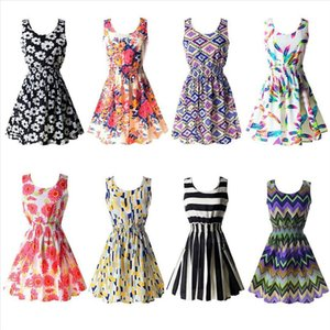 Lofia Womens Summer Sundress 2020 Plus Size Dress for Women XS 2XL 19 Color Options O Neck Beach Dress Mini Print Vintage