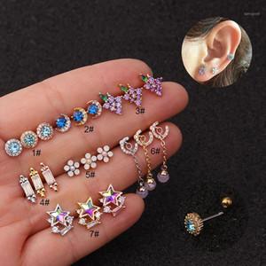 1Pcs Fashion Stainless Steel Cartilage Earrings For Women CZ Star Flower Moon Stud Earrings Ear Piercing Jewelry Gift1