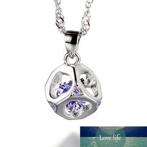 100% 925 Sterling Argent Sterling Amour Romantique Heart Cristal Square Crystal Mesdames Pendentif Colliers Bijoux En Gros Court Chain pas cher