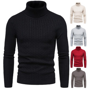Men Winter Black Turtelneck Sweaters Good Quality Men Slim Fit Elastic Pullovers Sweaters New Male Solid Casual SizeXXL