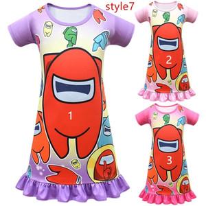 게임 가운데 귀여운 소녀 만화 애니메이션 프린트 드레스 공주 아기 소녀 원피스 드레스 주니어 잠옷 잠옷 미니 스커트 G10601