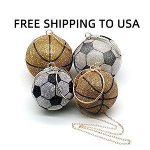 Fashion Purses TO USA Luxury Handbag Cross Funny SHIPPING Diamonds Crystal Basketball Women Shoulder FREE Soccer Bag Vpoku