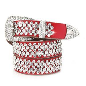 110cm 6 colors red brown genuine leather woman female belt fashion luxury sparkling full diamonds zircon rhinestone belt 3.5cm pin buckle
