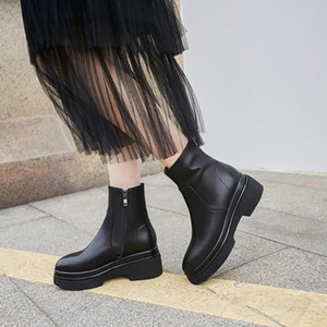MLJUESE 2020 women ankle boots Cow leather winter short plush square toe zippers female ankle boots party dress wedding