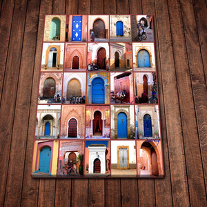 Modern Canvas Painting Abstract Moroccan Doors Posters Prints Wall Art Picture for Living Room Home