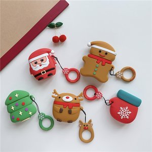 3D Cartoon Merry Christmas Santa Deer Tree Wireless bluetooth headset Soft case for Airpods 1 2 charging cover gift