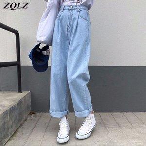 ZQLZ Jeans Mujeres NUEVO Vintage sólido Pantalón de mezclilla de ancho de alta cereal