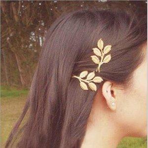 Liga de ouro deixa Hairpin cabeça de cabelo presente de jóias 3d deixa clipes de cabelo Barrettes clipes laterais de casamento branco braçadeiras jóias de cabelo WY1008