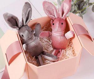 Velvet Bunny Soft Stuffed Plush Rabbit Toy Wedding Gift Animal Doll for Birthday Cake Wedding Decoration Party Favors Bag Pendants Charm