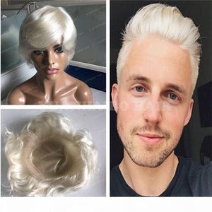 Fashion Style 6inch Platinum Blonde 60 Virgin Brazilian Hair Straight Mens Toupee Hair Replacement Free Shipping