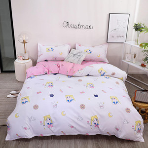 Thumbedding Sailor Moon Bedding Set For Girls Simple Fashionable Duvet Cover Rabbit King Full Twin Single Soft Queen Bed Set 201127