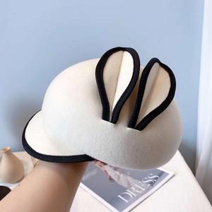 Japan CA4 Cute Rabbit Ears Cute Girl Woolen Cloth Female Retro Street Cap Baseball Cap Felt Hat