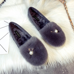Big Pearl metal bunny ears cotton moccasins winter plush shoes women thicken soled furry loafers cozy fur flats plus size 34-43 201128