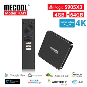 Mecool KM1 4G DDR4 64G ROM Android 10 Scatola TV AMLogic S905x3 2.4G / 5G WiFi 4K BT Controllo vocale Google certificato TV Box