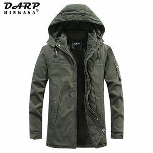 DARPHINKASA Winter Warm Men Parkas Jackets New Military Parka Coat Velvet Thick Windproof Hooded Winter Jackets Men 201119